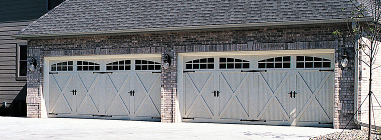 Carriage House Overhead Garage Doors with Glass Window Inserts